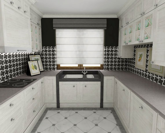 Projekt czarno białej klasycznej kuchni
