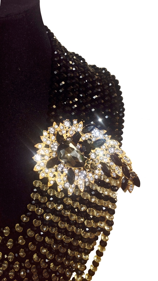 Black and gold honey comb multistrand with pendant