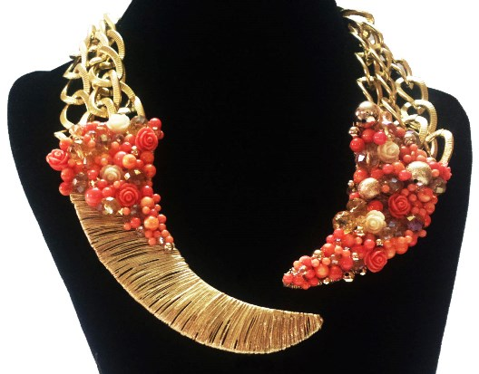 Khaleesi 1-coral gold and crystal cluster necklace