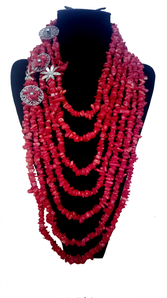 Red rough cut coral matinee style 1