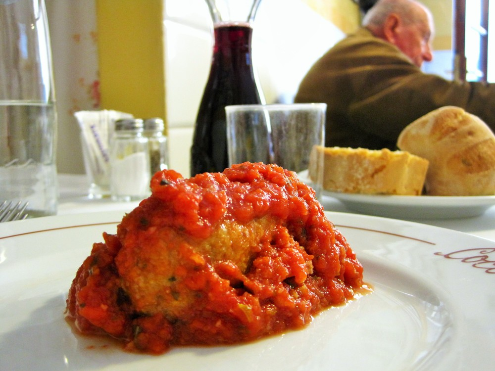 savory polpette meatballs and wine in Florence
