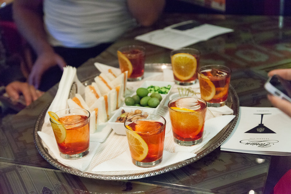 Spiced negroni at Caffe Florian on our Craft Cocktail Aperitivo Tour in Florence