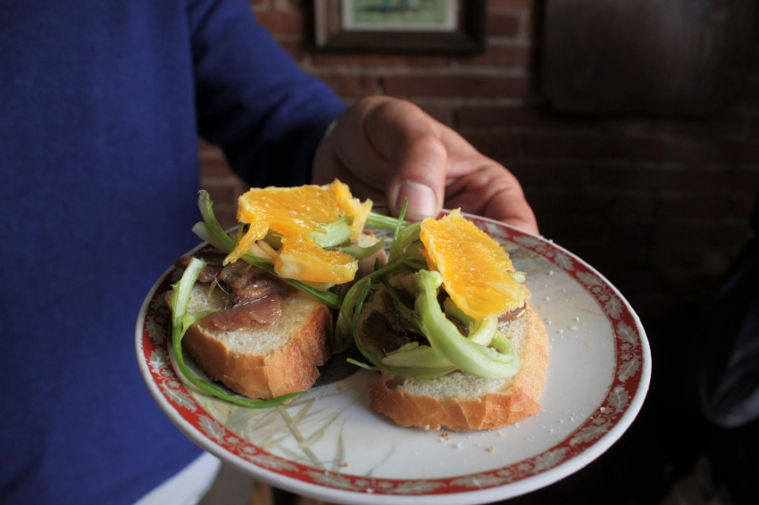 Gourmet crostini at local's favorite hole-in-the-wall  on our Market Tour in Florence  {Book Now}