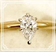 .40CT pear shaped diamond set in 14K yellow gold for only $349!