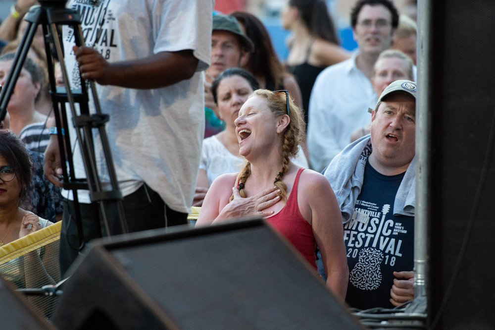 Our head of volunteers taking a well-deserved moment of musical bliss © 2018 Lynda Shenkman