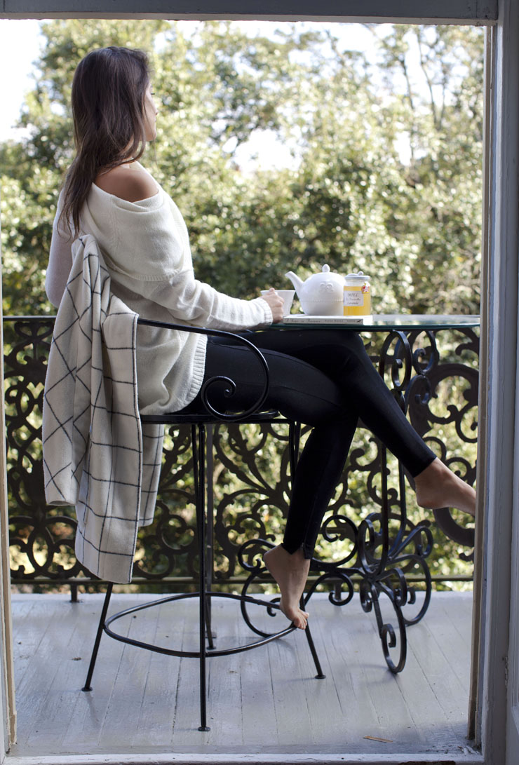Lindsey Calla coat balcony