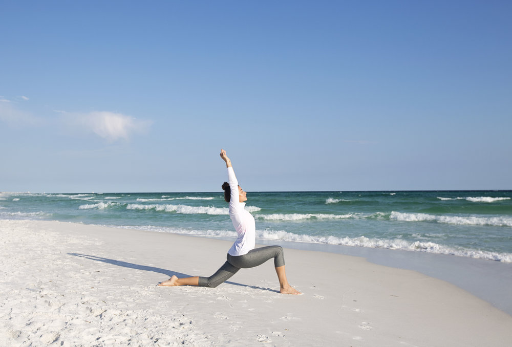 Begin in low lunge position.  Extend arms up, shoulders down away from the ears.  Stretch and relax into the hip