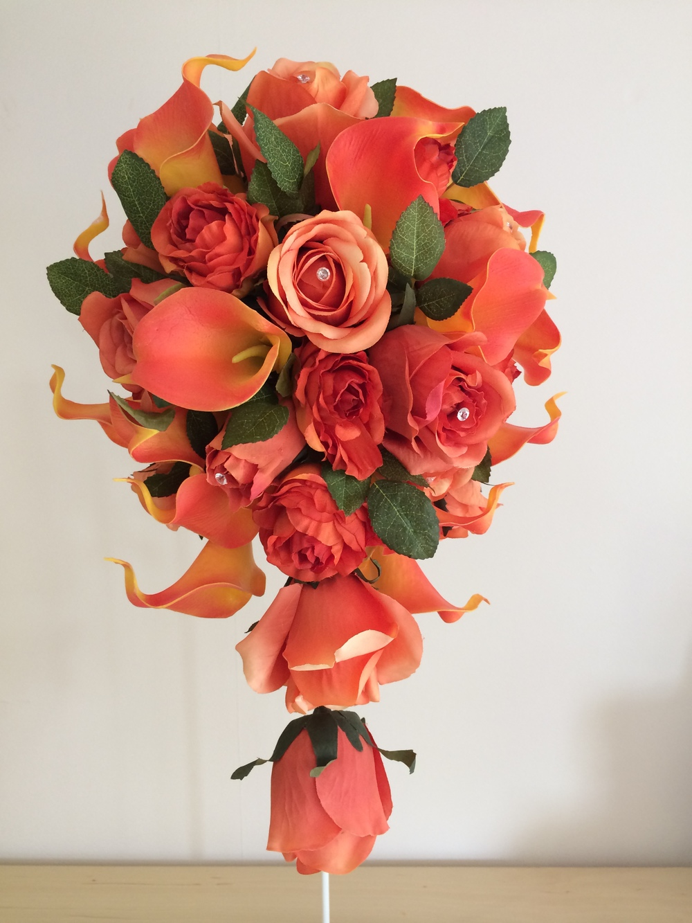Teardrop Bouquet With Orange Roses & Calla Lilies