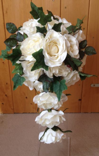 Long Teardrop Bouquet With Cream Roses & Rose Leaves