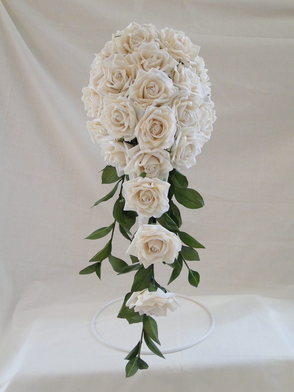Extra Long Ivory Rose Teardrop Bouquet With Green Ruscus