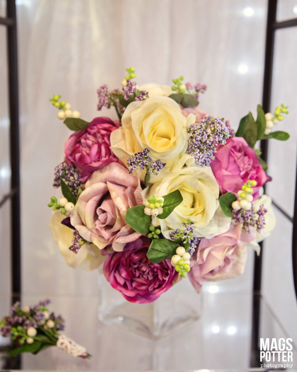 Brides Handtied Bouquet With Lilac & Cream Roses,   Hot Pink Peonies & Hedgerow Berries