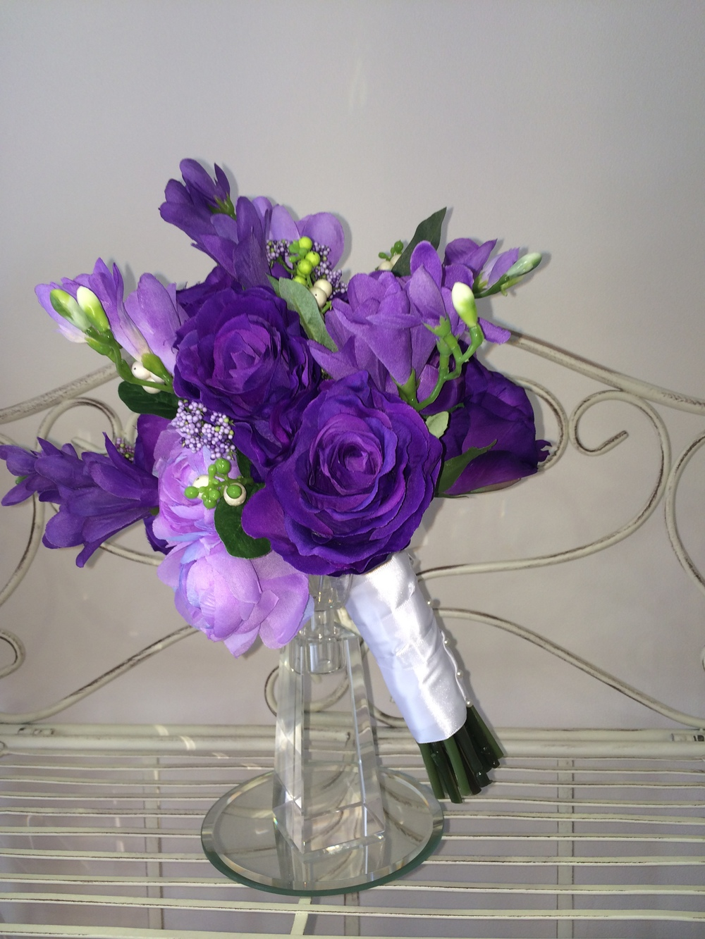 Brides Handtied Bouquet With Cadbury Purple Roses, Purple & Lilac Freesias With Lilac Hedgerow Berries
