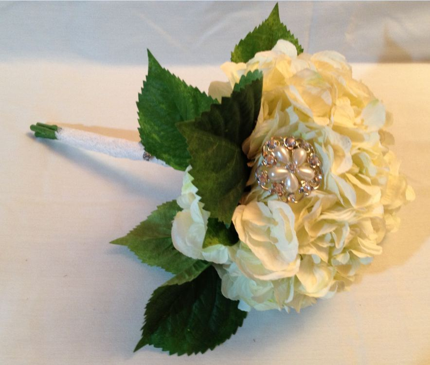 Brides Handtied Bouquet With Ivory Hydrangeas &     Brooches