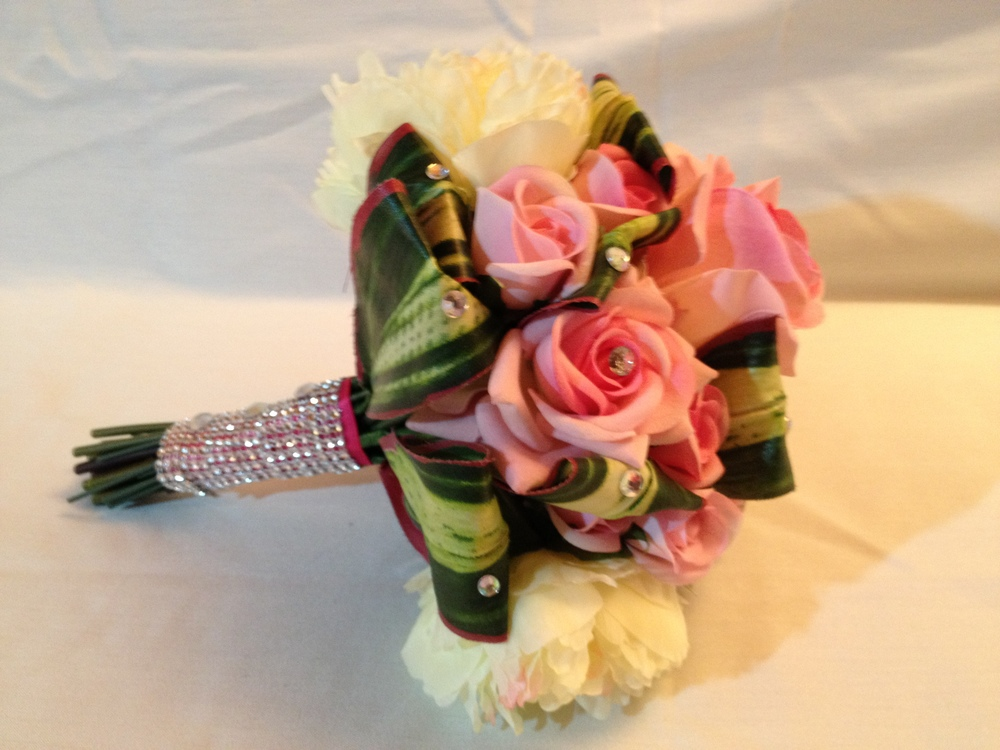 Brides Handtied Bouquet With Folded Back Aspidistra Leaves, Baby Pink Roses & Cream Hydrangeas