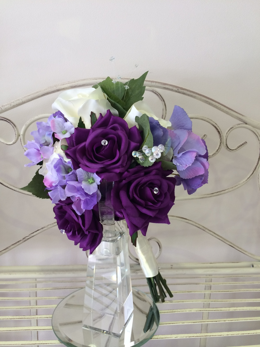Bridesmaids Bouquet With Cadbury Purple & Cream Roses & Lilac Hydrangeas