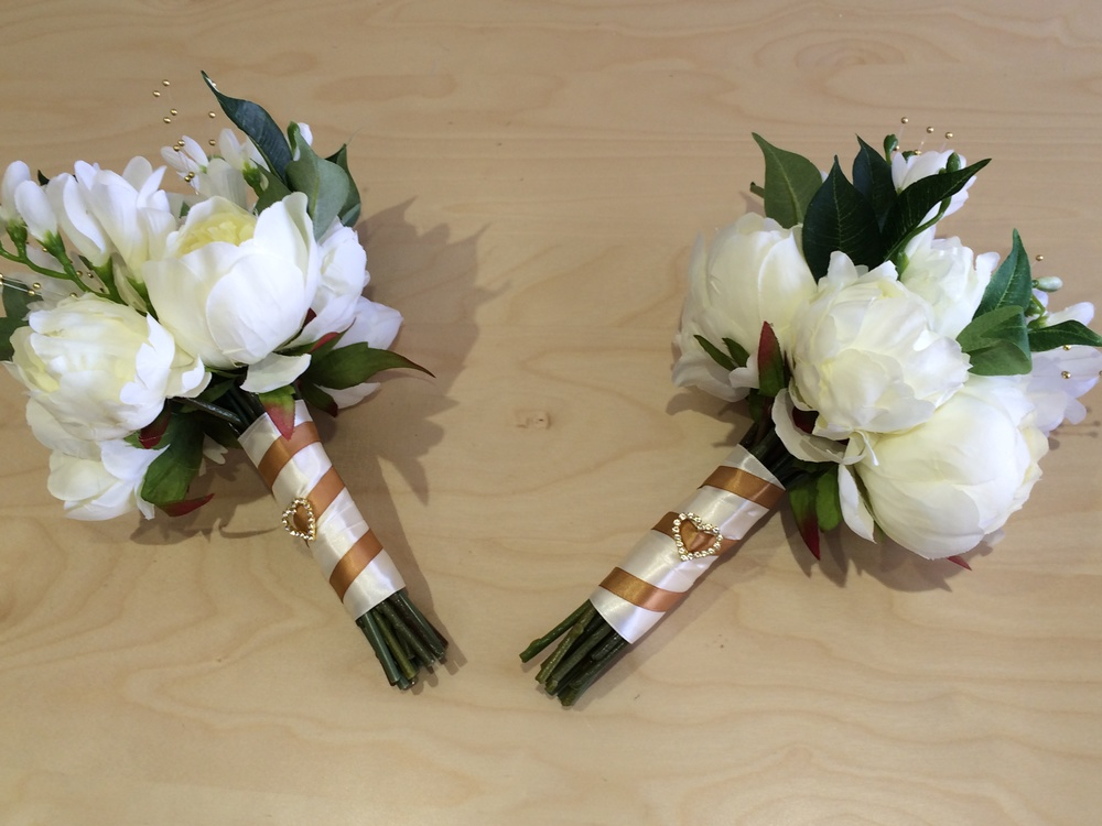 Bridesmaids Handtied Bouquet With Cream Peonies, Ivory Freesias & Bayleaves