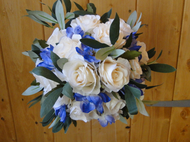 Bridesmaids Bouquet With Cream Roses, Blue Delphiniums & Rosemary Leaves