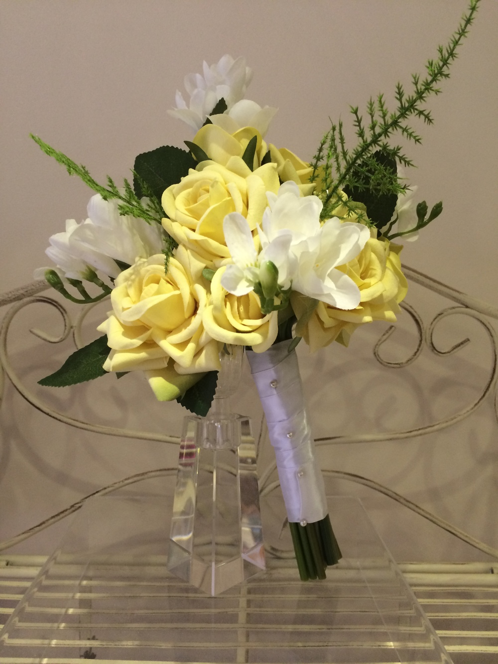 Bridesmaids Bouquet With Lemon Roses, White         Freesias & Fern