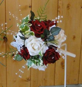 Bridesmaids Bouquet With Ivory & Red Roses, Rose Leaves, Fern & Ivy, Crystal & Pearl Stems