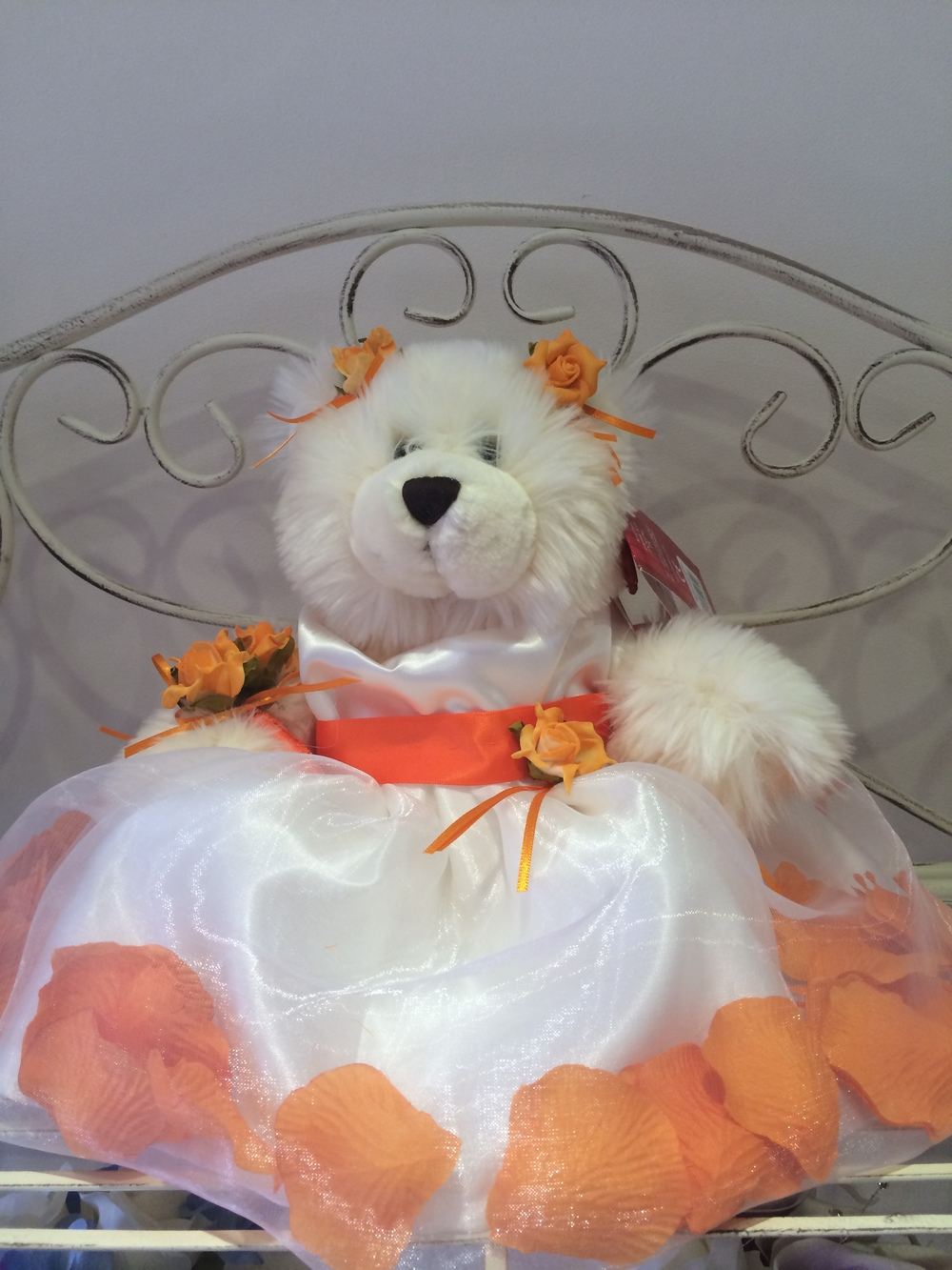 Flowergirl Bear With Ivory Dress & Orange Petals In   The Skirt