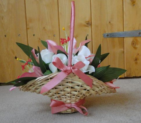 Flowergirl Basket With Coral Lilies, Cream Roses & Coral Ribbons