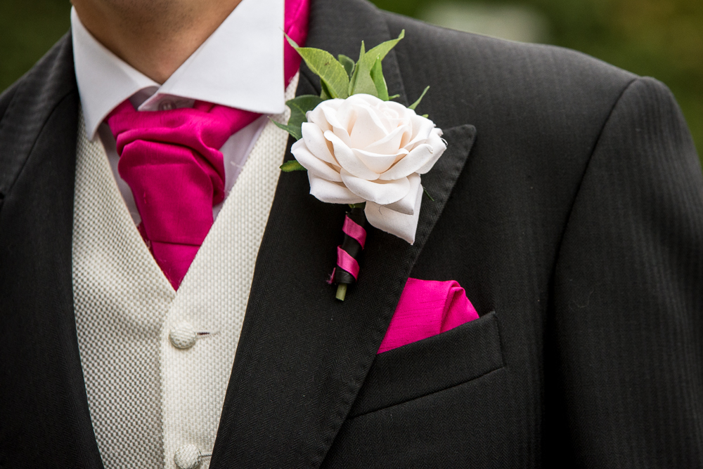 Men's Buttonhole - Ivory Rose With Bayleaves