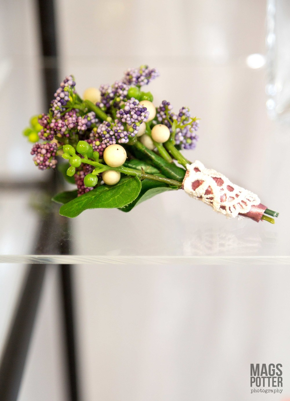Men's Buttonhole - Lilac & Purple Hedgerow Berries With Snowberries