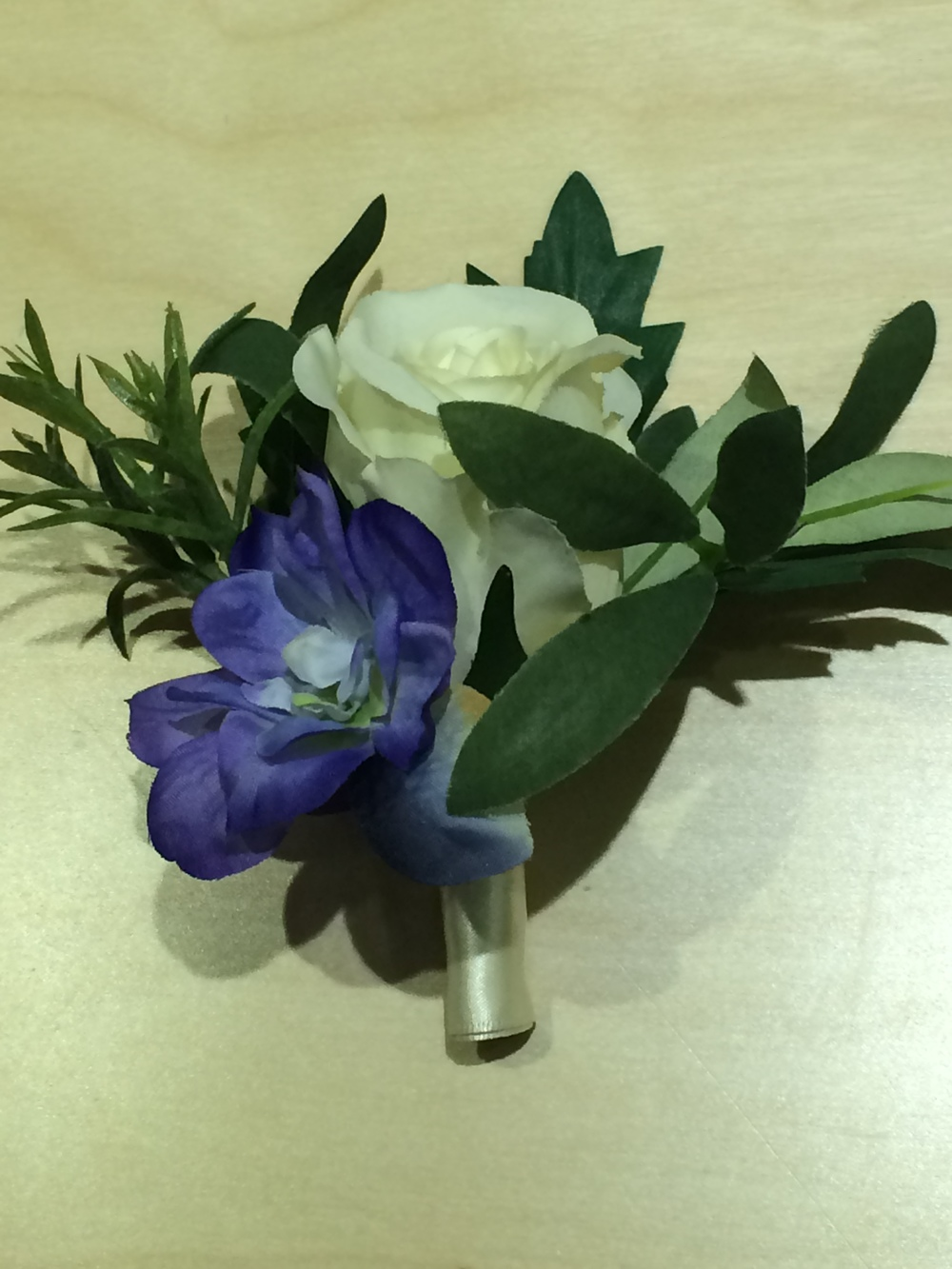 Men's Buttonhole - Cream Rose With Blue Delphiniums & Herbs