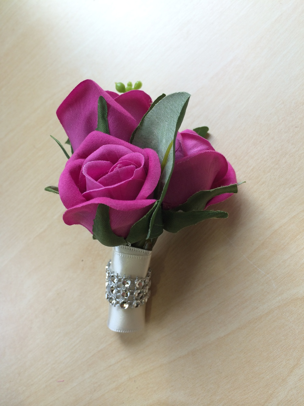 Ladies Corsage - Three Small Hot Pink Roses