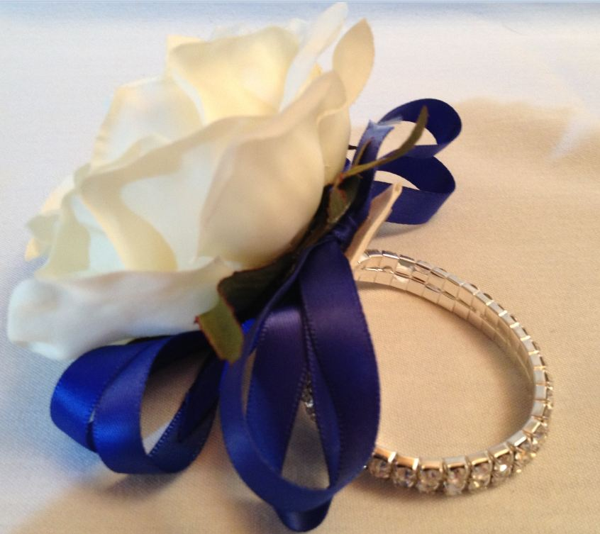 Bridesmaids or Ladies Diamante Wrist Corsage With Cream Rose