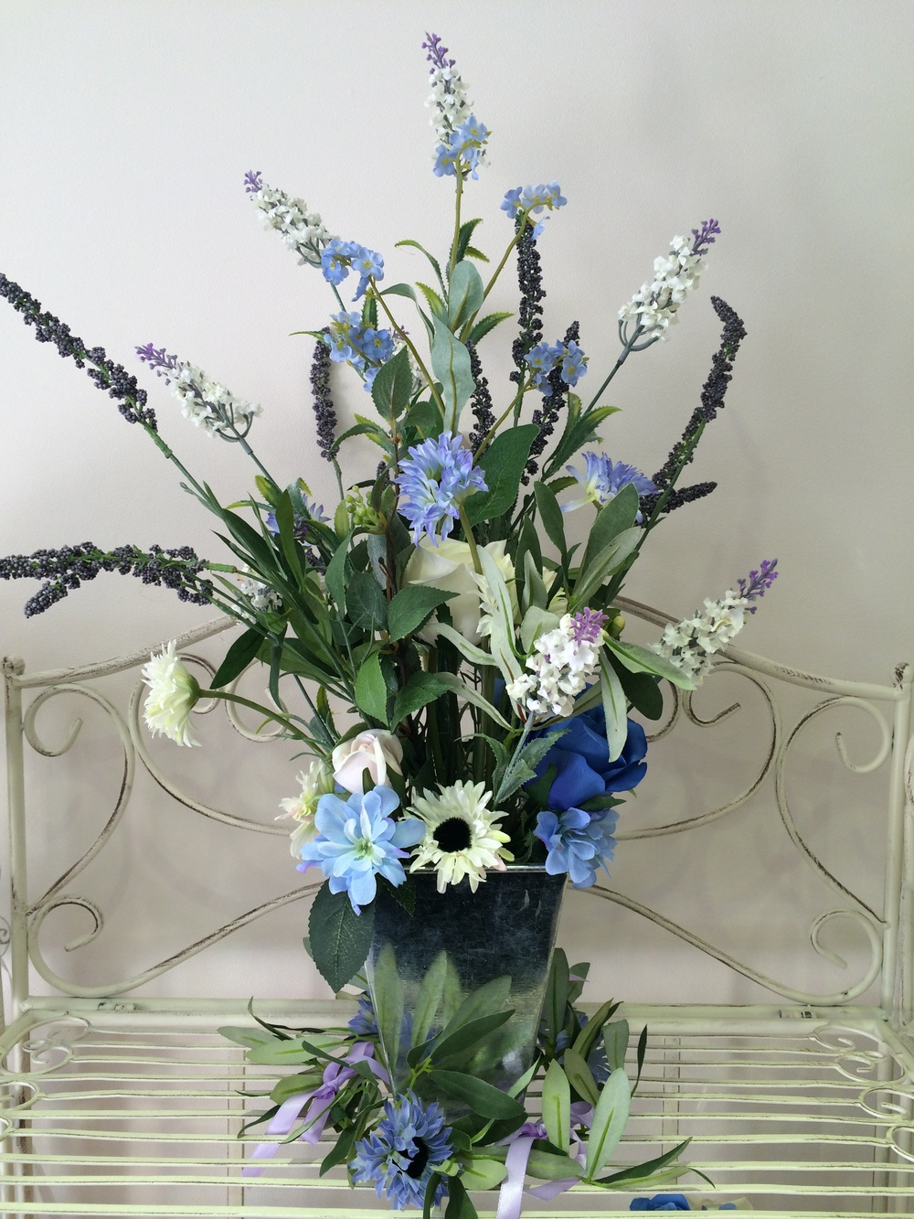 Ceremony Display - Lavender, Daisies, Light Blue & Cream Roses In a Silver Vase