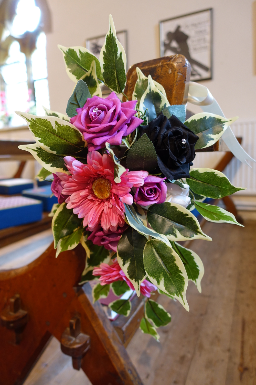 Church Pew End Flowers - Hot Pink Gerberas & Roses With Black Roses & Greenery