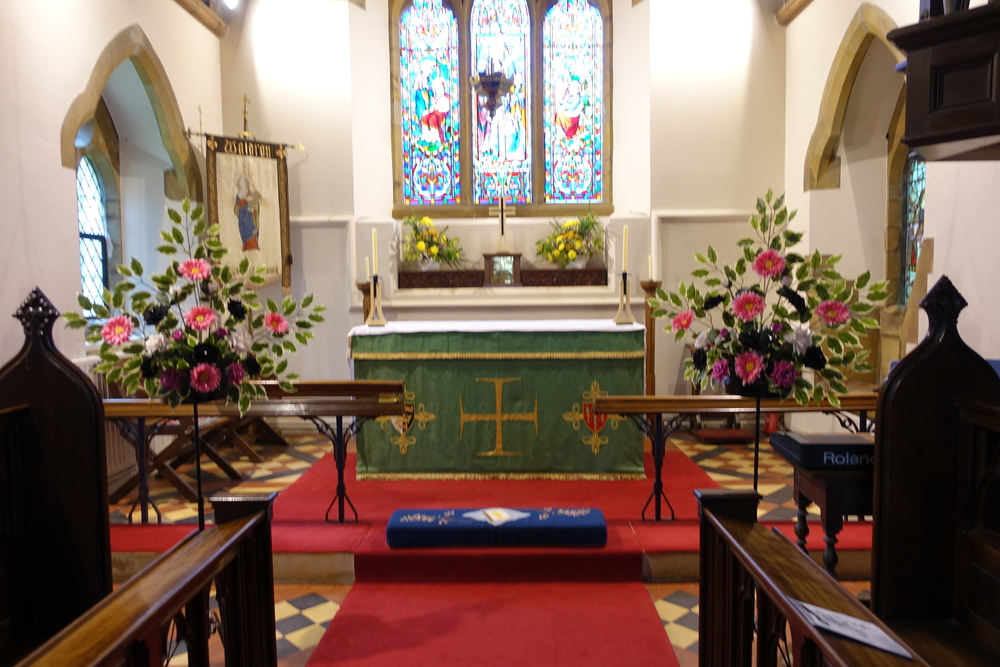 Pedestal Flowers - Either Side The Alter With Ivy, Hot Pink Gerberas & Roses & Black Roses