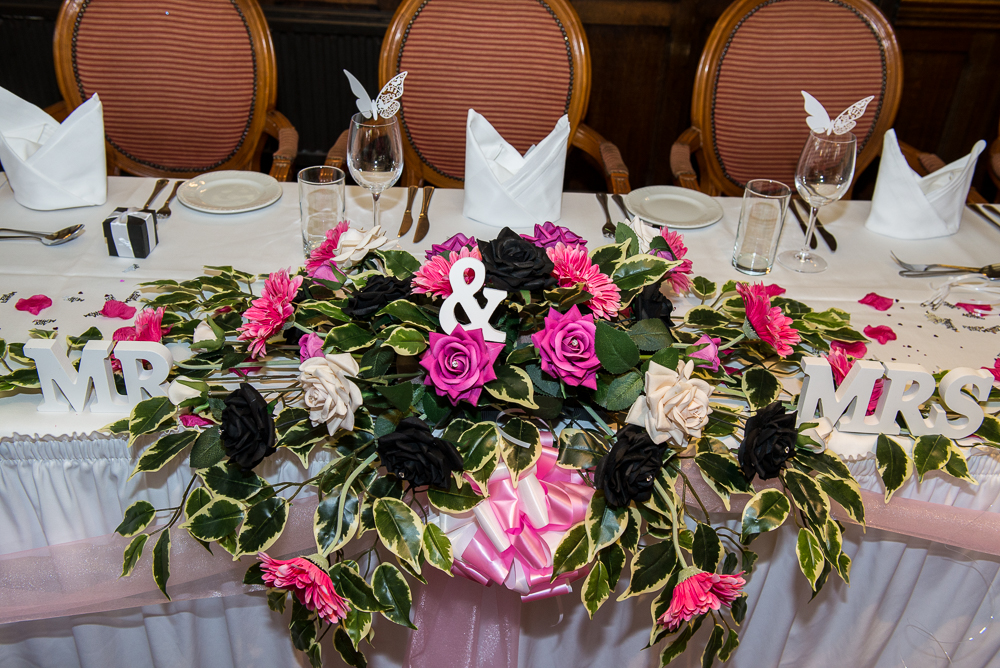 Top Table Display - With Hot Pink Gerberas & Roses, Black & Ivory Roses & Ivy