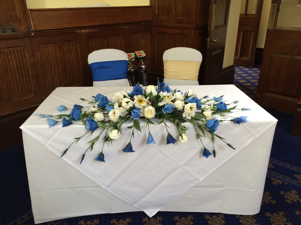 Ceremony & Top Table Display - With Cream Peonies, Mood Blue Roses, Light & Dark Blue Lisianthus