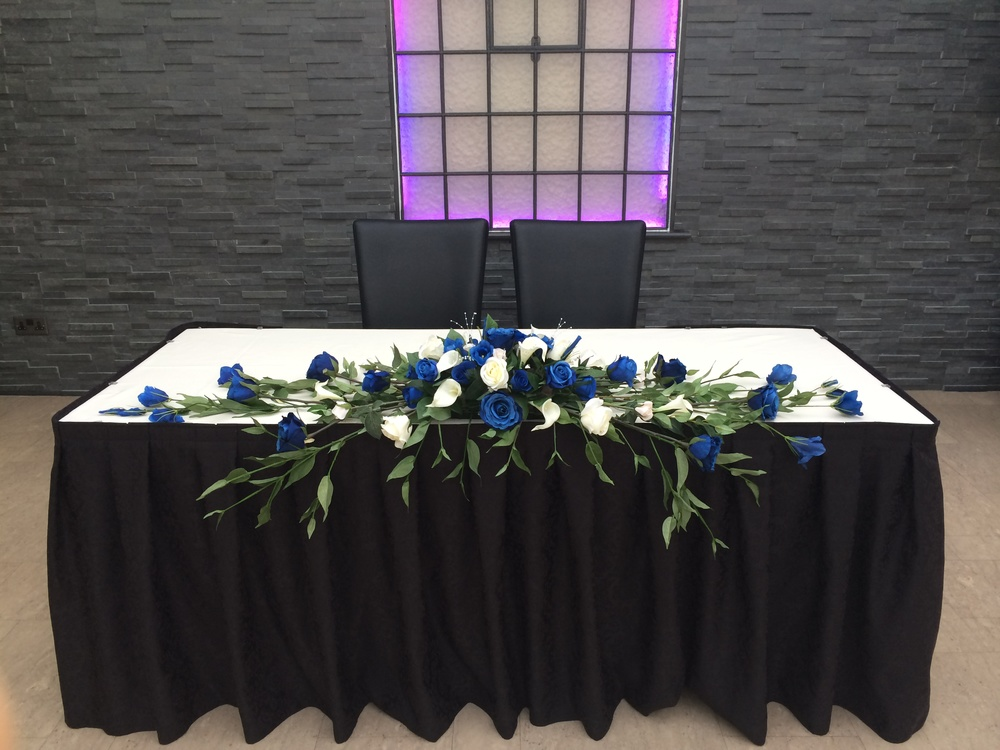 Top Table Display  - With Ivory Calla Lilies, Light Blue Roses, Light & Dark Blue Lisianthus