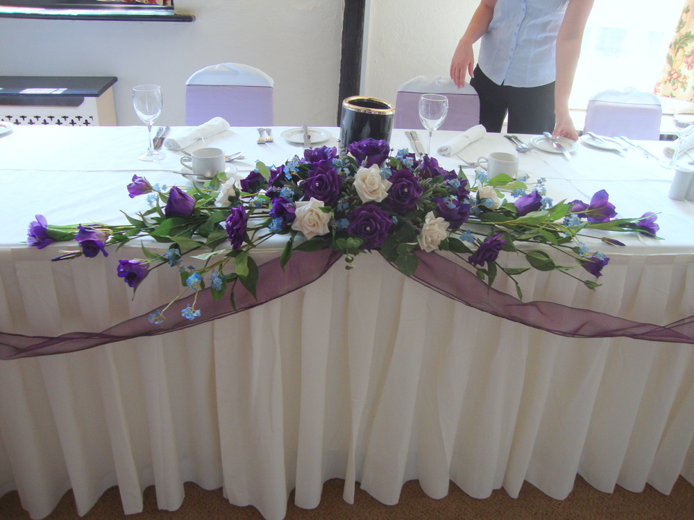 Top Table Display - With Ivory & Cadbury Purple Roses, Purple Lisianthus, Lavender & Forgetmenots