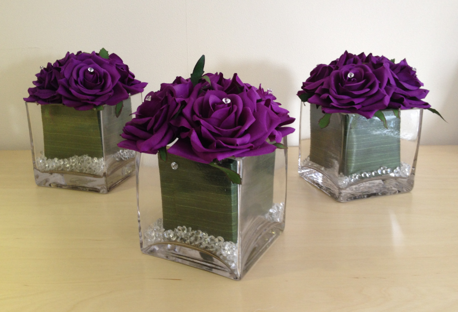 Guest Table Arrangement - Cube Displays With Aspidistra Leaves & Purple Roses