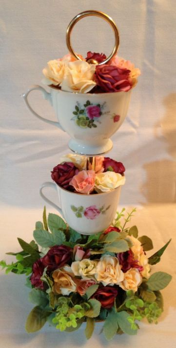 Guest Table Arrangement - Vintage Tea Cup Display With Tea Roses