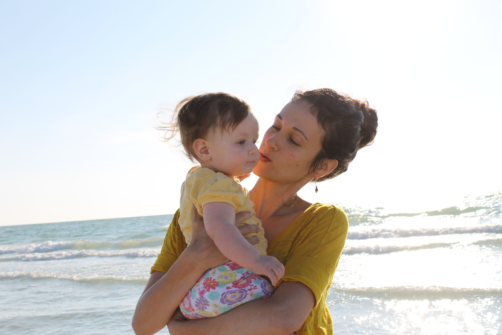 mom and baby at beach