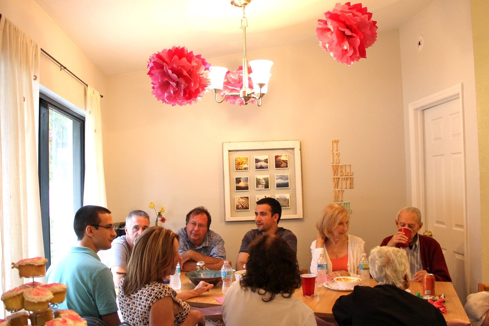 All the family squished into our tiny dining room...we made it work though!