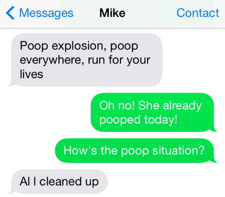 text message about poop