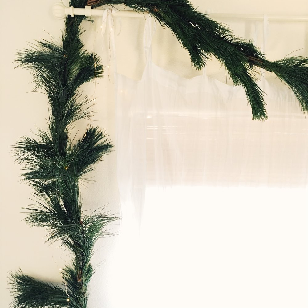 pine garland for Christmas