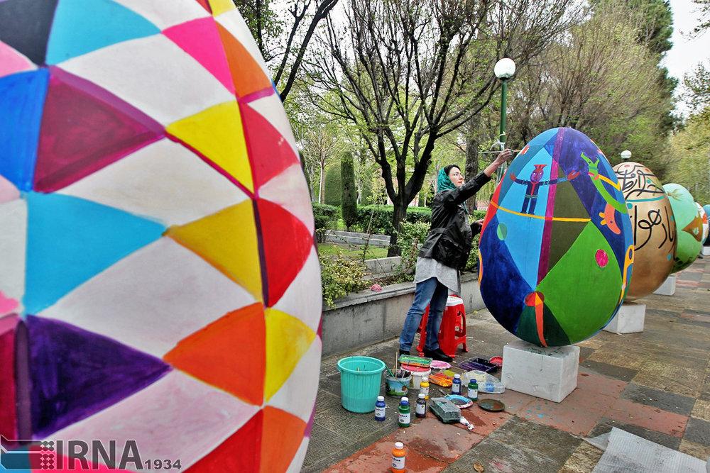[Nowruz egg painting festival, Tehran, Iran. Photo by Amirhousein Bandi, IRNA]