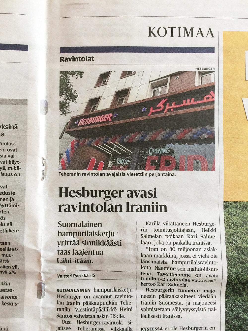 Helsingin Sanomat, Sunday 15.4.2018