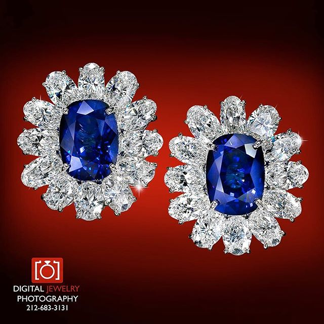 Sapphire and diamond earrings make everyone smile. Dramatic colors are my favorite.  #sapphire #diamondearrings #color #gems #fashion #jewels #luxury #sparkle #oneofakind #jewelryphotography #jewelryphotorapher #earrings #glamour