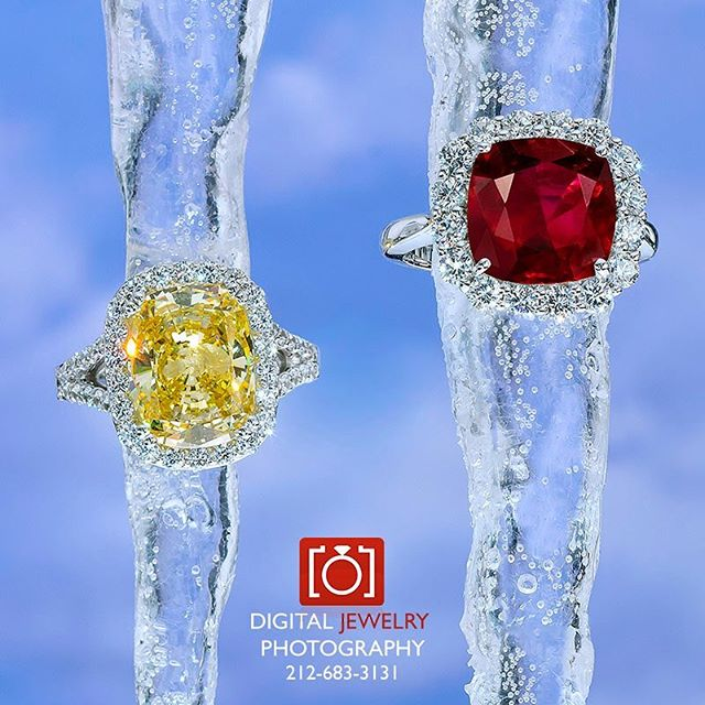 We create wonderful jewelry images for all of our clients. Come see what we are all about. Www.digitaljewelryphotography.com #winterjewelry #icicles #yellowdiamond #diamondring #rubyring #haloring