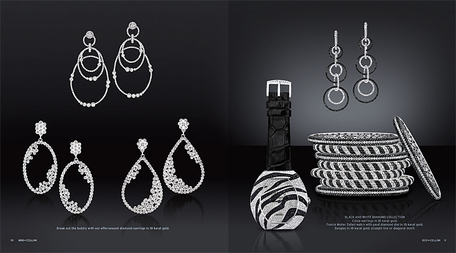 Cellini Jewelers Black and White Diamond Watch Earrings and Bangles Catalog tearsheet.jpg