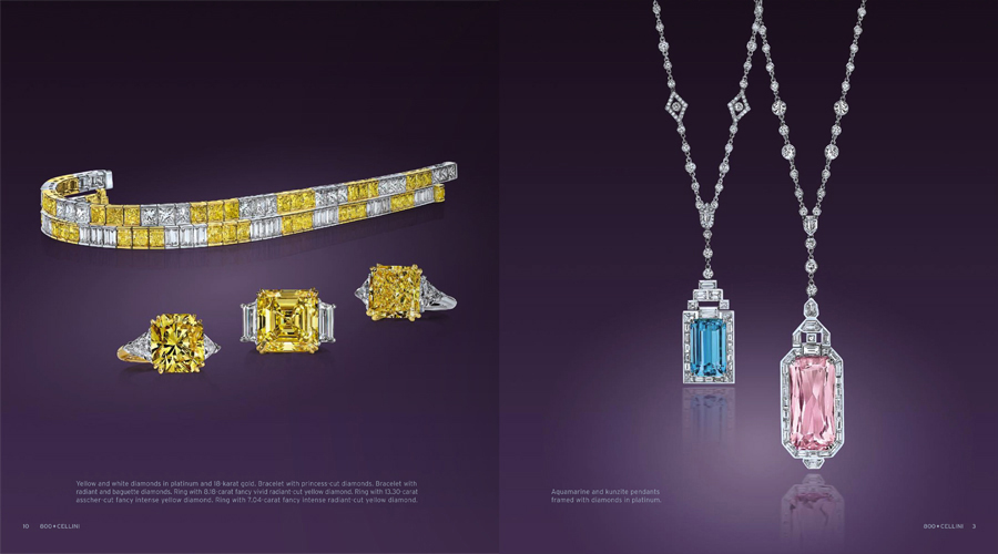 Cellini Jewelers Yellow Diamond Rings and Tennis Bracelets Sapphire Pendants catalog tearsheet.jpg