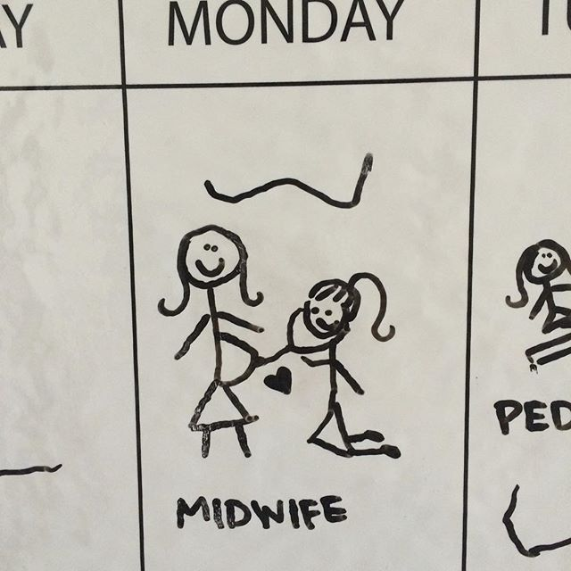 My client draws pictures on her weekly calendar. So cute!! #midwifejoy #calendar #love #lovemyjob